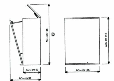 Mesures du meuble à plan vertical
